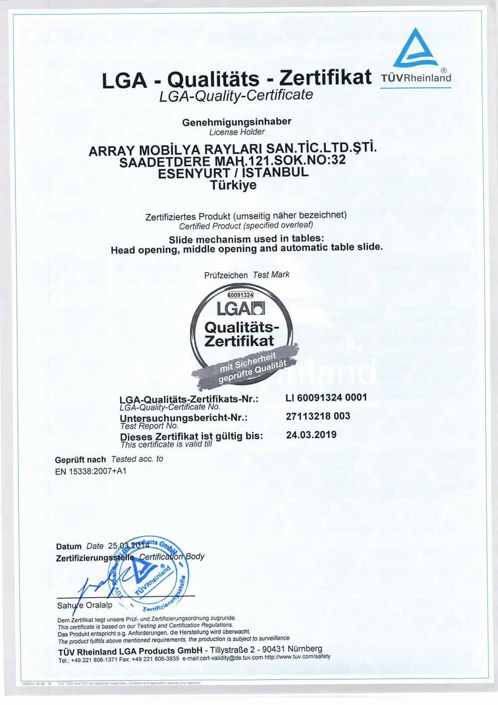 شهادات - الجودة | Array Ray Sistemleri